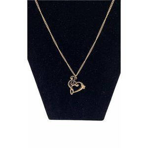 G-Clef and Heart in One Necklace Gold